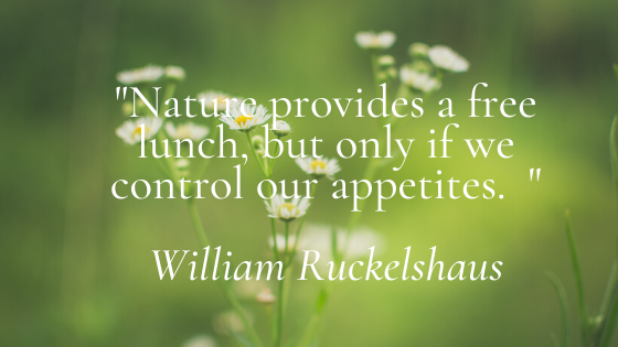 Nature provides a free lunch, but only if we control our appetites.
